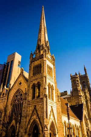 episcopal: Evening light on Arch Street Methodist Episcopal Church in Philadelphia, Pennsylvania.