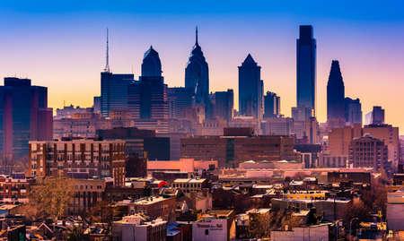 ben franklin: The skyline seen from the Ben Franklin Bridge Walkway, in Philadelphia, Pennsylvania.