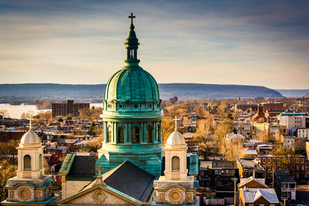 The Cathedral Parish of Saint Patrick seen from the South Street Parking Garage in Harrisburg, Pennsylvania.