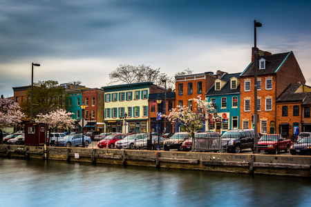 Colorful shops and buildings in Fells Point, Baltimore, Maryland.