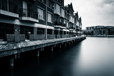 fells: Long exposure of waterfront condominiums in Fells Point, Baltimore, Maryland. Editorial