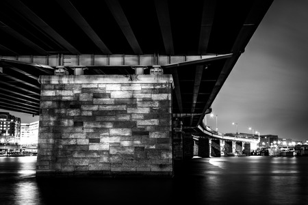 A bridge at night in Washington, DC. photo
