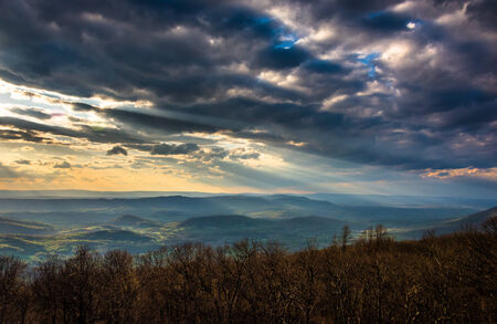 crepuscular: Crepuscular rays over the Appalachians, seen from Skyline Drive in Shenandoah National Park, Virginia.
