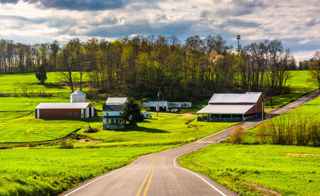 backroad: Farm along a country road in rural York County, Pennsylvania.