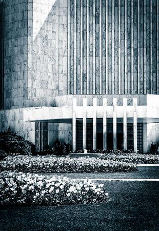 mormon temple: Garden in front of the Washington DC Mormon Temple in Kensington, Maryland. Stock Photo