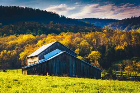 Old barn and spring colors in the Shenandoah Valley, Virginia. photo