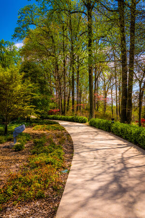 mormon temple: Path through gardens at the Washington DC Mormon Temple in Kensington, Maryland. Stock Photo