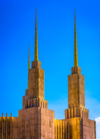 mormon temple: Spires of the Washington DC Mormon Temple, in Kensington, Maryland.