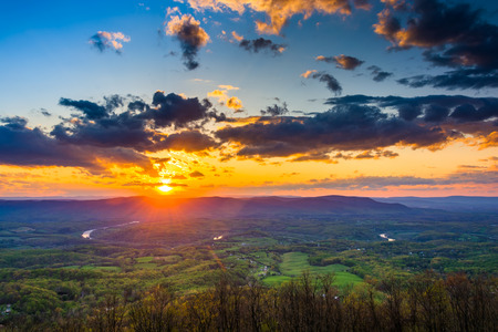 Sunset over the Shenandoah Valley from Skyline Drive in Shenandoah National Park, Virginia.