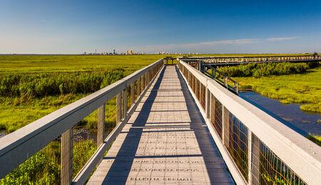 Boardwalk over marshes at Edwin B. Forsythe National Wildlife Refuge, New Jersey. photo