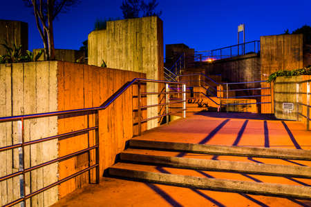 elevated walkway: Stairs on an elevated walkway at night in Baltimore, Maryland.