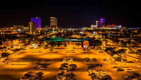 atlantic city: Streets and distant casinos at night in Atlantic City, New Jersey. Editorial