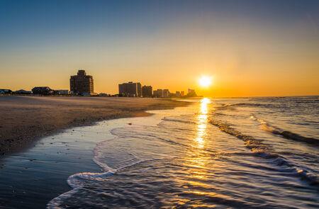 Sunrise over the Atlantic Ocean at Ventnor Beach, New Jersey. photo