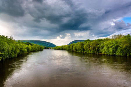 The Delaware River seen from from a pedestrian bridge in Portland, Pennsylvania. photo