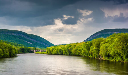 The Delaware Water Gap and the Delaware River seen from from a pedestrian bridge in Portland, Pennsylvania. photo