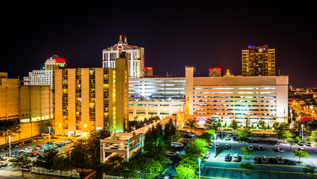 View of buildings at night from the Showboat Parking Garage in Atlantic City, New Jersey.
