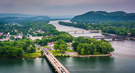 View of the Susquehanna River and town of Northumberland, Pennsylvania from Shikellamy State Park. Stock Photo