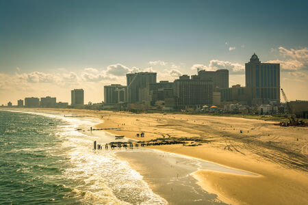 atlantic city: View of the beach and skyline from The Pier Shops at Caesars in Atlantic City, New Jersey.