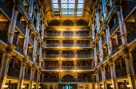 The interior of the Peabody Library in Mount Vernon, Baltimore, Maryland.