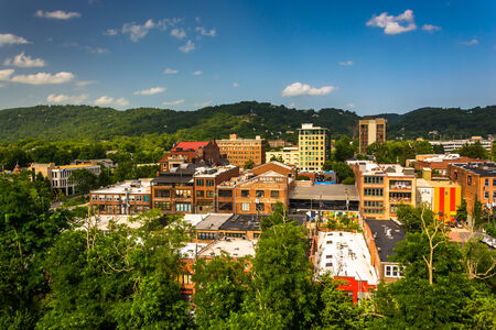 asheville: View of buildings from a parking garage in Asheville, North Carolina.