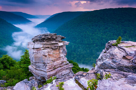 blackwater: Fog in the Blackwater Canyon at sunset, seen from Lindy Point, Blackwater Falls State Park, West Virginia.