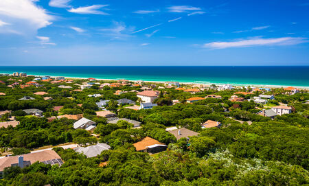 View of houses and the Atlantic Ocean from Ponce de Leon Inlet Lighthouse, Florida.