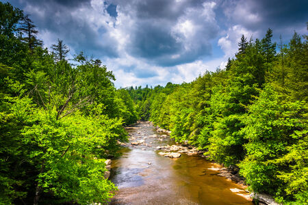 blackwater: View of the Blackwater River from a bridge at Blackwater Falls State Park, West Virginia. Stock Photo