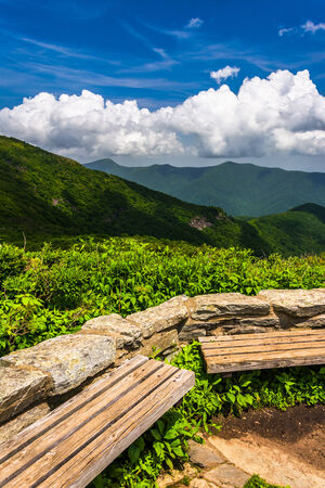 north ridge: Benches and view of the Appalachians from Craggy Pinnacle, near the Blue Ridge Parkway, North Carolina.