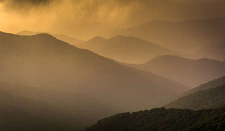 Hazy evening view of the Blue Ridge Mountains seen from the Blue Ridge Parkway in North Carolina. photo