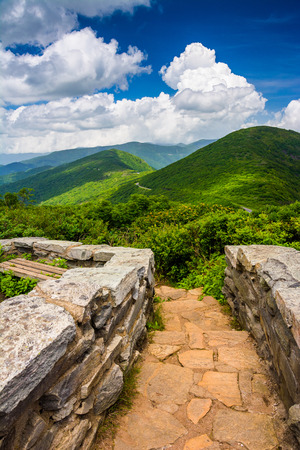 Mid-day view of the Appalachian Mountains  from Craggy Pinnacle, near the Blue Ridge Parkway in North Carolina.