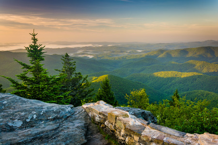 Morning view from Devils Courthouse, near the Blue Ridge Parkway in North Carolina.