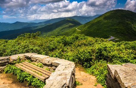 craggy: Benches and view of the Appalachians from Craggy Pinnacle, near the Blue Ridge Parkway, North Carolina.