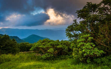 Dramatic evening view of the Blue Ridge Mountains from the Blue Ridge Parkway, near Craggy Gardens in North Carolina. photo