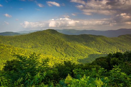 Evening view of the Appalachian Mountains from the Blue Ridge Parkway in North Carolina.
