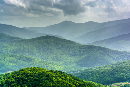 Mid-day view of the Appalachian Mountains from the Blue Ridge Parkway in North Carolina.