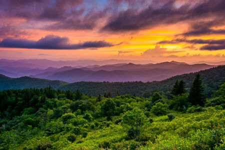 north ridge: Sunset from Cowee Mountains Overlook, on the Blue Ridge Parkway in North Carolina.