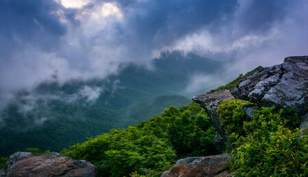 north ridge: The Blue Ridge in fog, seen from Craggy Pinnacle, near the Blue Ridge Parkway, North Carolina. Stock Photo