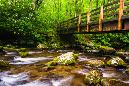Cascades and walking bridge over the Oconaluftee River, at Great Smoky Mountains National Park, North Carolina.