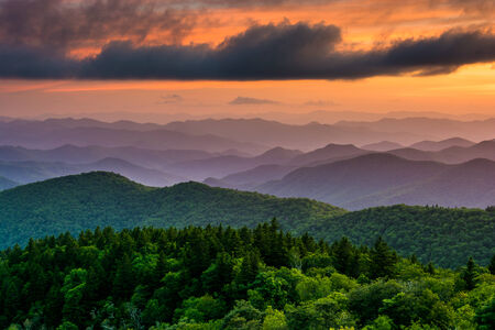 overlook: Sunset from Cowee Mountains Overlook, on the Blue Ridge Parkway in North Carolina.