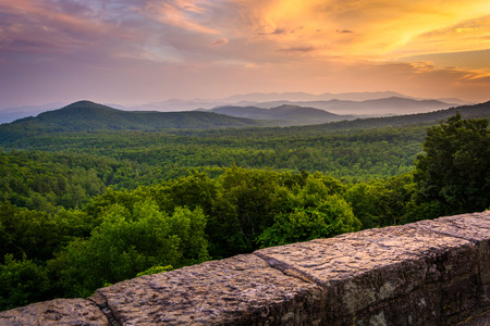 The Appalachian Mountains at sunset, seen from the Blue Ridge Parkway in North Carolina. photo