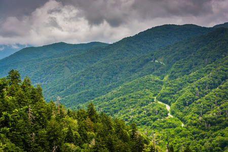overlook: Dramatic view of the Appalachian Mountains from Newfound Gap Road, at Great Smoky Mountains National Park, Tennessee.