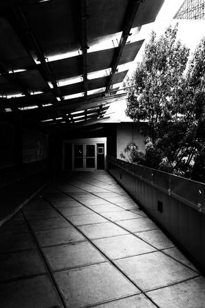 elevated walkway: Elevated walkway in downtown Charlotte, North Carolina. Stock Photo