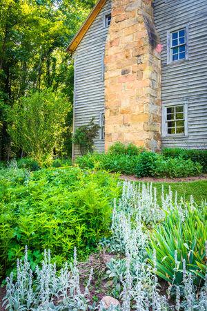 seneca: Garden and the Sites Homestead, at Seneca Rocks, West Virginia.