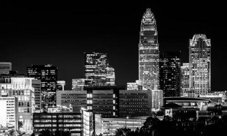 View of the Charlotte skyline at night, North Carolina. photo