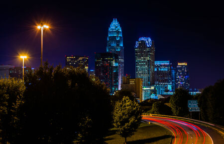 View of the Charlotte skyline from the Central Avenue Bridge, in Charlotte, North Carolina. photo