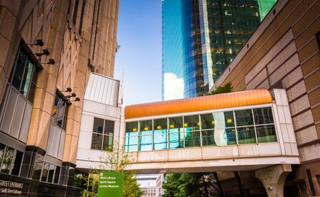 elevated walkway: Elevated walkway and buildings in Charlotte, North Carolina.