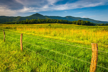 smokies: Fence in a field and view of mountains at Cades Cove, Great Smoky Mountains National Park, Tennessee. Stock Photo
