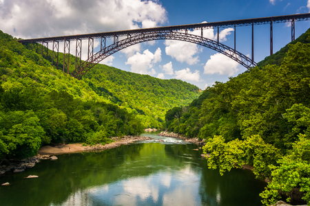 west river: The New River Gorge Bridge, seen from Fayette Station Road, at the New River Gorge National River, West Virginia.