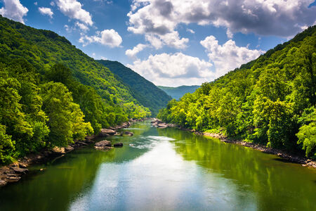 The New River, seen from Fayette Station Road, at the New River Gorge National River, West Virginia.