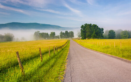 Farm fields along a country road on a foggy morning in the Potomac Highlands of West Virginia. Stock Photo
